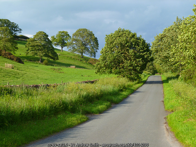This photo of the road alongside Abbot's Moss is copyright Andrew Smith